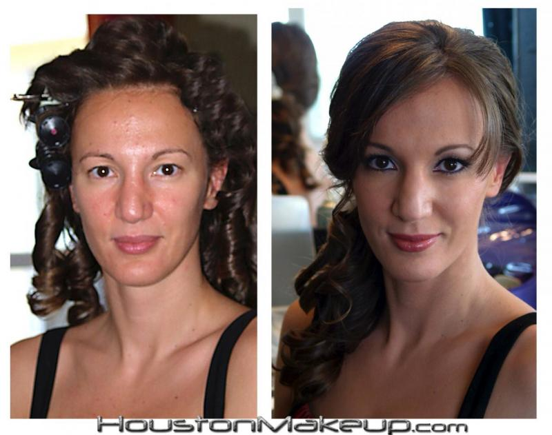 Hair, makeup, before and after