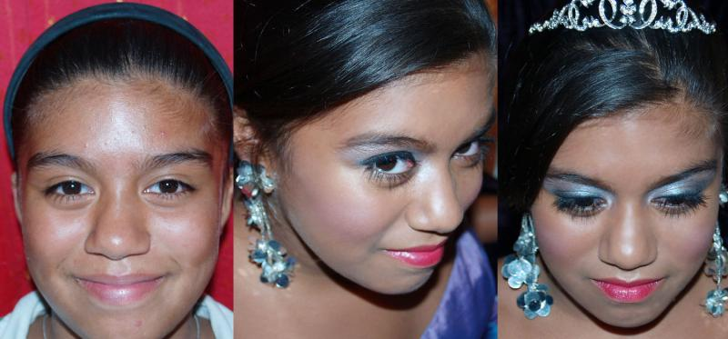 Quinceanera, Makeup, before and after
